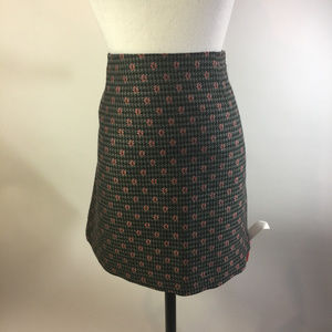 Thakoon Black Gray Mini Skirt Embroidered Flowers